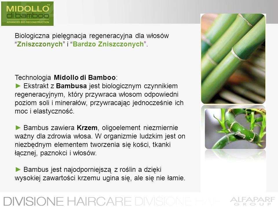 Biologiczna pielęgnacja regeneracyjna dla włosówZniszczonych i Bardzo Zniszczonych. Technologia Midollo di Bamboo: Ekstrakt z Bambusa jest biologiczny