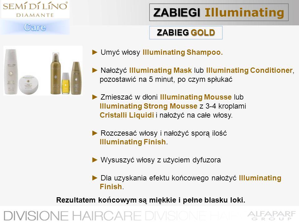 ZABIEG GOLD Umyć włosy Illuminating Shampoo. Nałożyć Illuminating Mask lub Illuminating Conditioner, pozostawić na 5 minut, po czym spłukać Zmieszać w