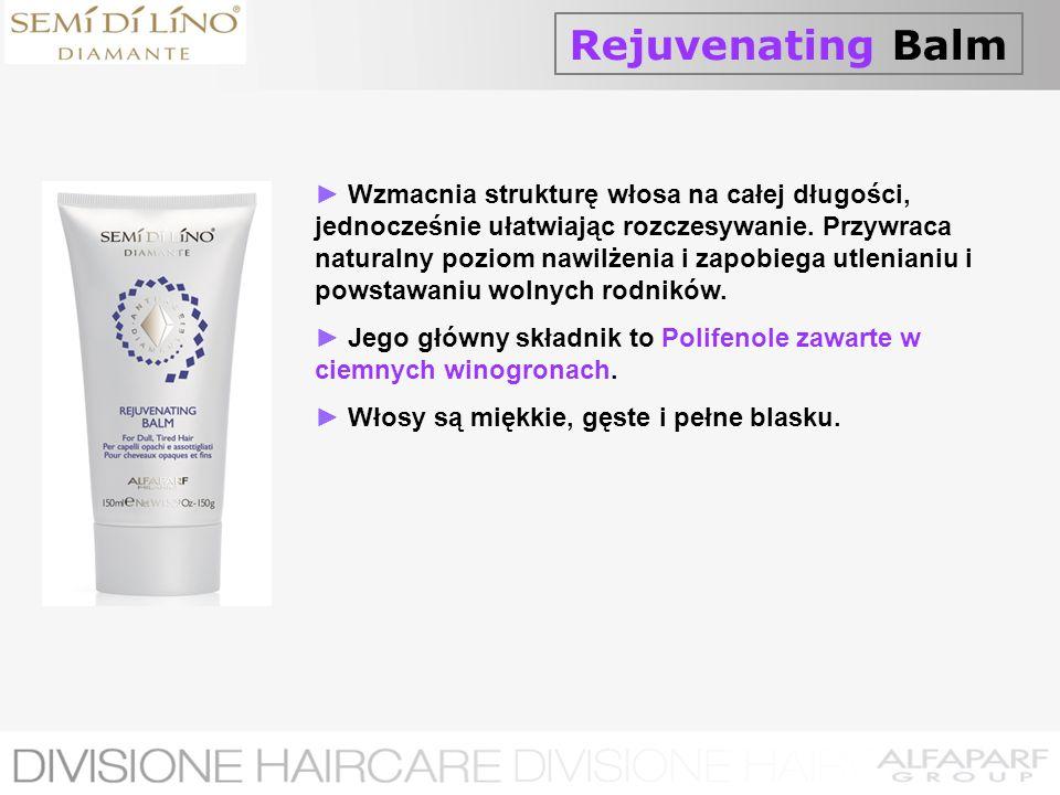Rejuvenating Balm Wzmacnia strukturę włosa na całej długości, jednocześnie ułatwiając rozczesywanie. Przywraca naturalny poziom nawilżenia i zapobiega