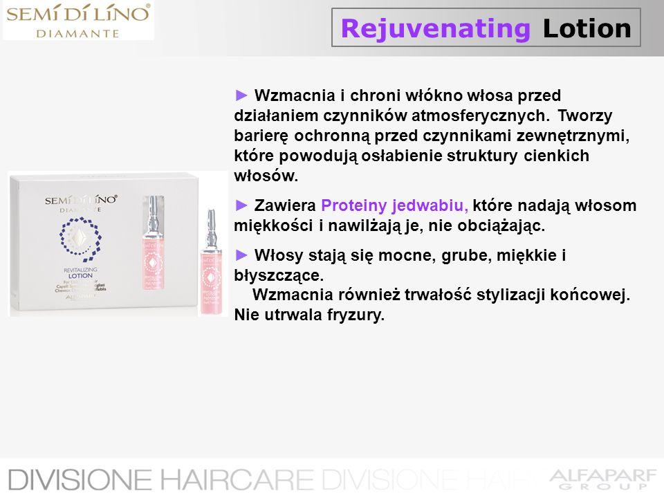 Rejuvenating Lotion Wzmacnia i chroni włókno włosa przed działaniem czynników atmosferycznych. Tworzy barierę ochronną przed czynnikami zewnętrznymi,