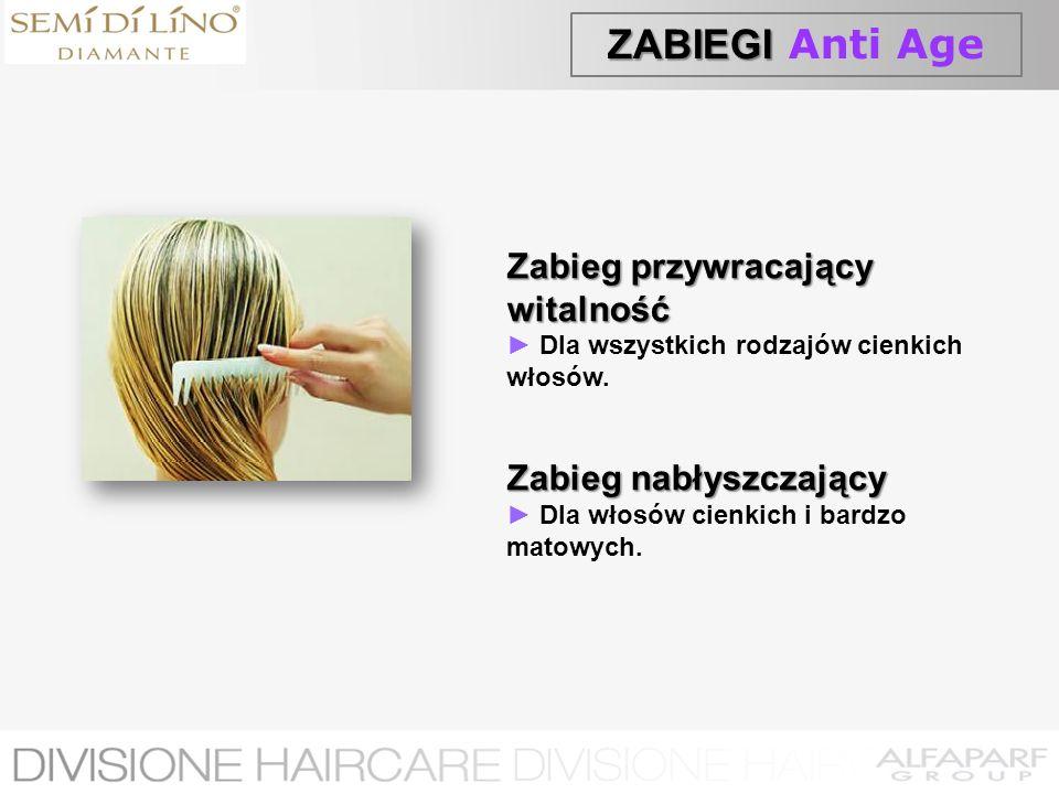 ZABIEGI ZABIEGI Anti Age Zabieg przywracający witalność Dla wszystkich rodzajów cienkich włosów. Zabieg nabłyszczający Dla włosów cienkich i bardzo ma