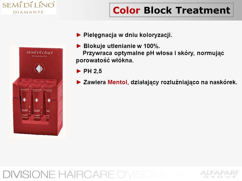 Color Block Treatment Pielęgnacja w dniu koloryzacji. Blokuje utlenianie w 100%. Przywraca optymalne pH włosa i skóry, normując porowatość włókna. PH