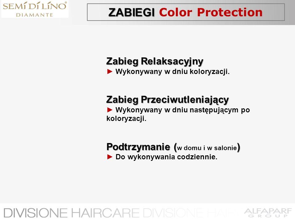 ZABIEGI ZABIEGI Color Protection Zabieg Relaksacyjny Wykonywany w dniu koloryzacji. Zabieg Przeciwutleniający Wykonywany w dniu następującym po kolory