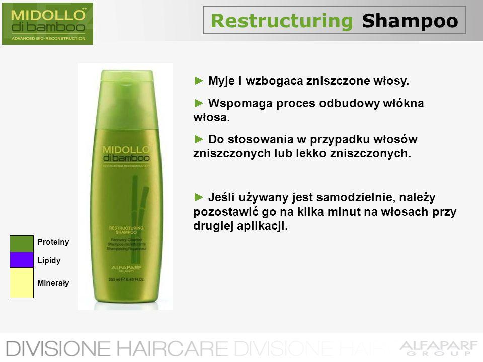 Restructuring Shampoo Myje i wzbogaca zniszczone włosy. Wspomaga proces odbudowy włókna włosa. Do stosowania w przypadku włosów zniszczonych lub lekko