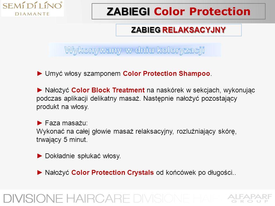 ZABIEG RELAKSACYJNY Umyć włosy szamponem Color Protection Shampoo. Nałożyć Color Block Treatment na naskórek w sekcjach, wykonując podczas aplikacji d