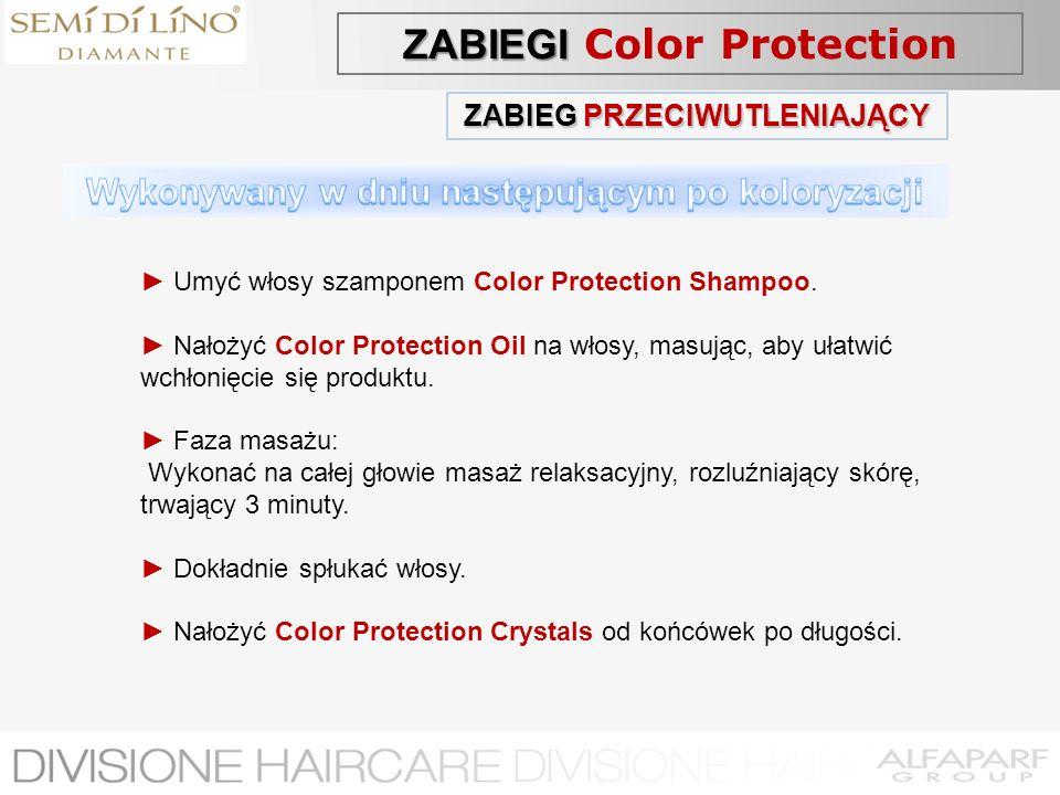 ZABIEG PRZECIWUTLENIAJĄCY Umyć włosy szamponem Color Protection Shampoo. Nałożyć Color Protection Oil na włosy, masując, aby ułatwić wchłonięcie się p
