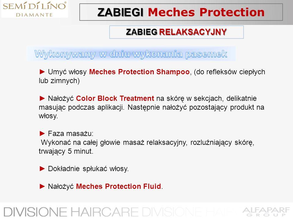 ZABIEG RELAKSACYJNY Umyć włosy Meches Protection Shampoo, (do refleksów ciepłych lub zimnych) Nałożyć Color Block Treatment na skórę w sekcjach, delik