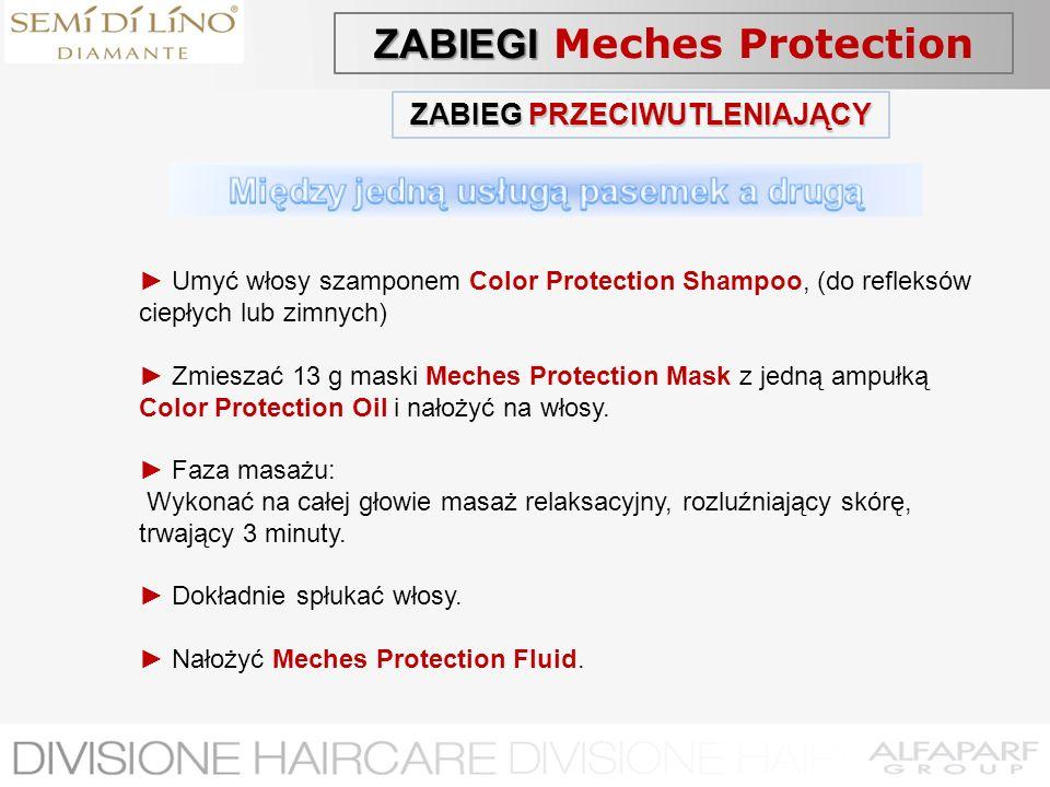 ZABIEG PRZECIWUTLENIAJĄCY Umyć włosy szamponem Color Protection Shampoo, (do refleksów ciepłych lub zimnych) Zmieszać 13 g maski Meches Protection Mas