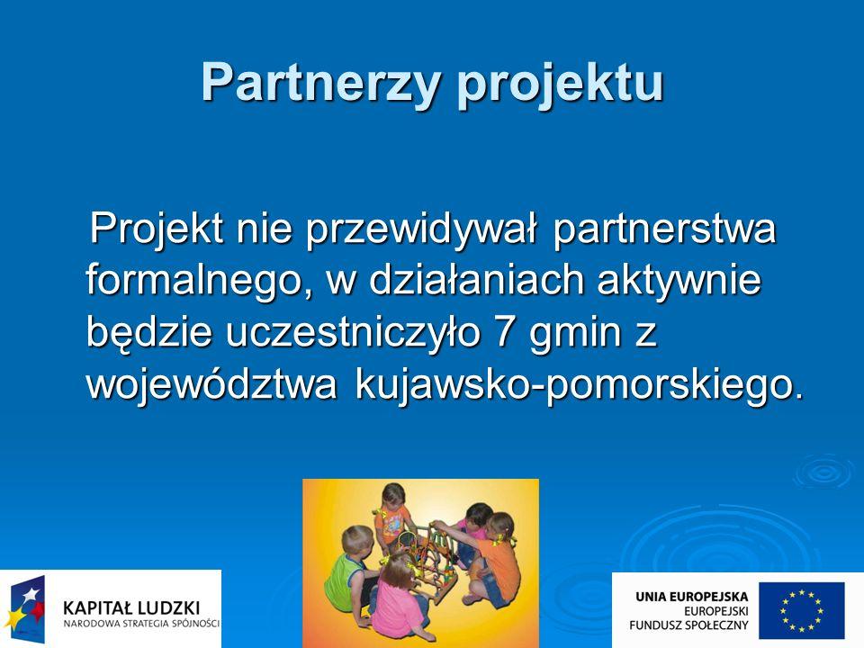Partnerzy projektu Projekt nie przewidywał partnerstwa formalnego, w działaniach aktywnie będzie uczestniczyło 7 gmin z województwa kujawsko-pomorskie