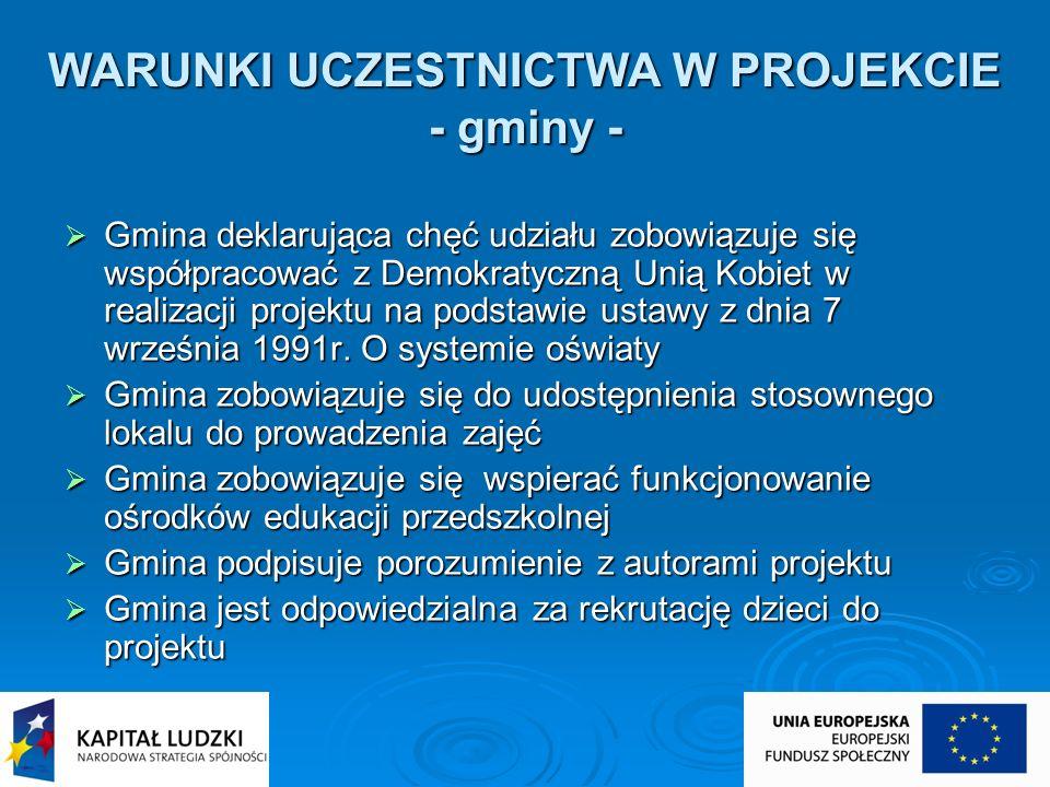WARUNKI UCZESTNICTWA W PROJEKCIE - gminy - Gmina deklarująca chęć udziału zobowiązuje się współpracować z Demokratyczną Unią Kobiet w realizacji proje