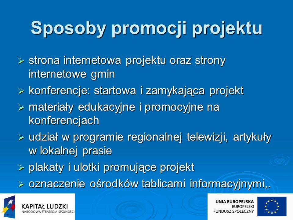 Sposoby promocji projektu strona internetowa projektu oraz strony internetowe gmin strona internetowa projektu oraz strony internetowe gmin konferencj