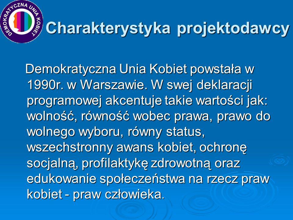 Charakterystyka projektodawcy Charakterystyka projektodawcy Demokratyczna Unia Kobiet powstała w 1990r. w Warszawie. W swej deklaracji programowej akc