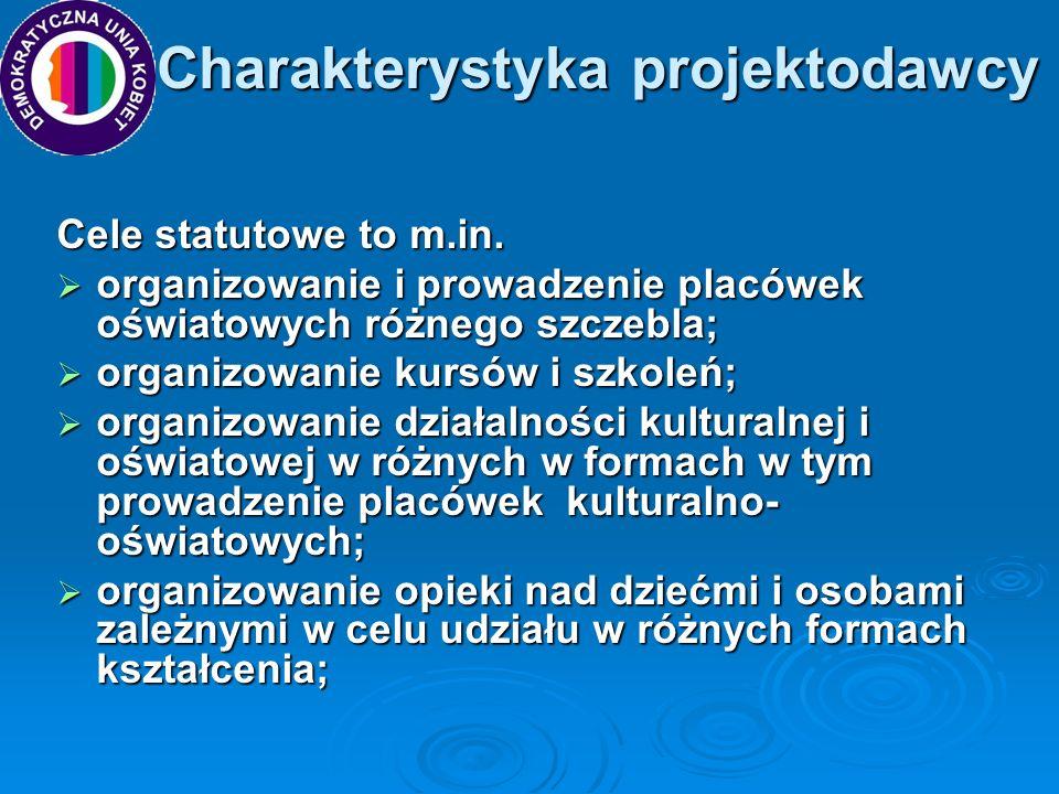 Charakterystyka projektodawcy Charakterystyka projektodawcy Cele statutowe to m.in. organizowanie i prowadzenie placówek oświatowych różnego szczebla;
