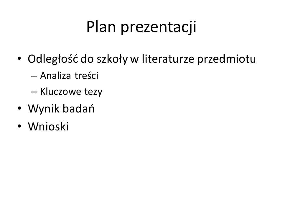 Plan prezentacji Odległość do szkoły w literaturze przedmiotu – Analiza treści – Kluczowe tezy Wynik badań Wnioski