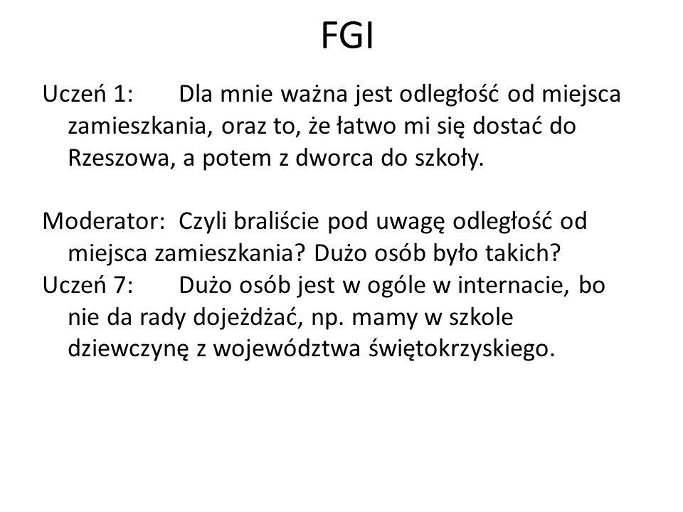 FGI Uczeń 1:Dla mnie ważna jest odległość od miejsca zamieszkania, oraz to, że łatwo mi się dostać do Rzeszowa, a potem z dworca do szkoły. Moderator: