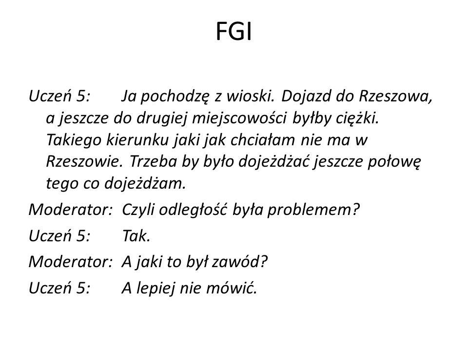 FGI Uczeń 5:Ja pochodzę z wioski. Dojazd do Rzeszowa, a jeszcze do drugiej miejscowości byłby ciężki. Takiego kierunku jaki jak chciałam nie ma w Rzes