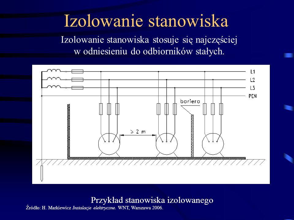 Przykład stanowiska izolowanego Izolowanie stanowiska stosuje się najczęściej w odniesieniu do odbiorników stałych. Źródło: H. Markiewicz Instalacje e