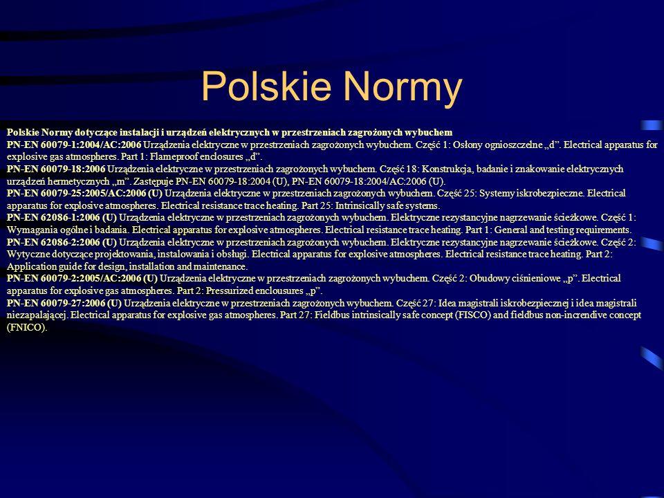 Polskie Normy dotyczące instalacji i urządzeń elektrycznych w przestrzeniach zagrożonych wybuchem PN-EN 60079-1:2004/AC:2006 Urządzenia elektryczne w