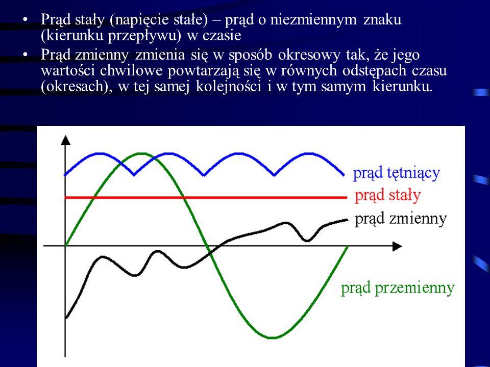 Prąd stały (napięcie stałe) – prąd o niezmiennym znaku (kierunku przepływu) w czasie Prąd zmienny zmienia się w sposób okresowy tak, że jego wartości