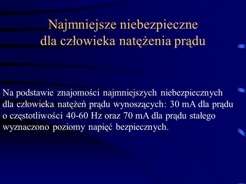 Na podstawie znajomości najmniejszych niebezpiecznych dla człowieka natężeń prądu wynoszących: 30 mA dla prądu o częstotliwości 40-60 Hz oraz 70 mA dl