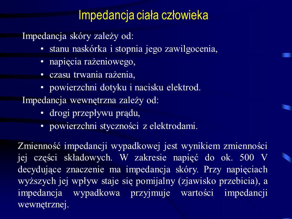 Impedancja ciała człowieka Impedancja skóry zależy od: stanu naskórka i stopnia jego zawilgocenia, napięcia rażeniowego, czasu trwania rażenia, powier