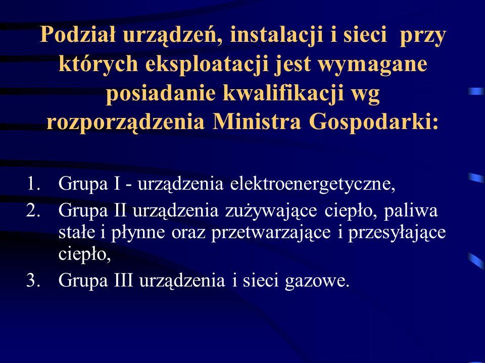 Podział urządzeń, instalacji i sieci przy których eksploatacji jest wymagane posiadanie kwalifikacji wg rozporządzenia Ministra Gospodarki: 1.Grupa I