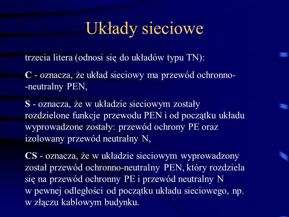trzecia litera (odnosi się do układów typu TN): C - oznacza, że układ sieciowy ma przewód ochronno- -neutralny PEN, S - oznacza, że w układzie sieciow