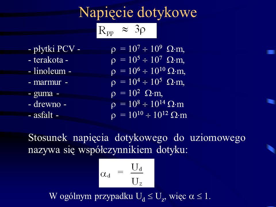 - płytki PCV - = 10 7 10 9 m, - terakota - = 10 5 10 7 m, - linoleum - = 10 6 10 10 m, - marmur - = 10 4 10 5 m, - guma - = 10 2 m, - drewno - = 10 8