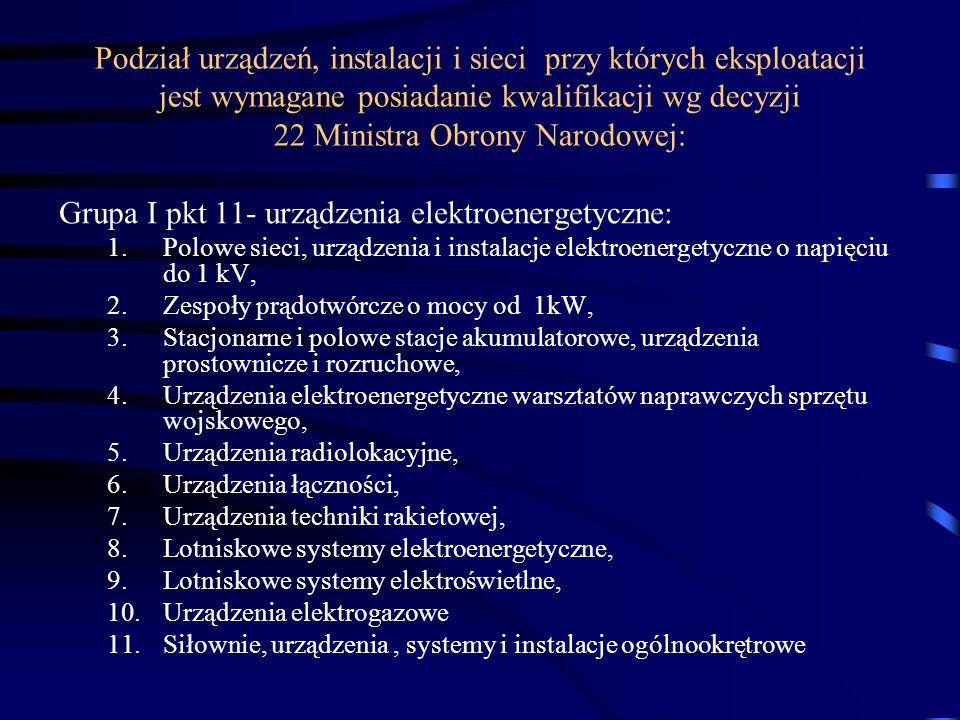 Podział urządzeń, instalacji i sieci przy których eksploatacji jest wymagane posiadanie kwalifikacji wg decyzji 22 Ministra Obrony Narodowej: Grupa I