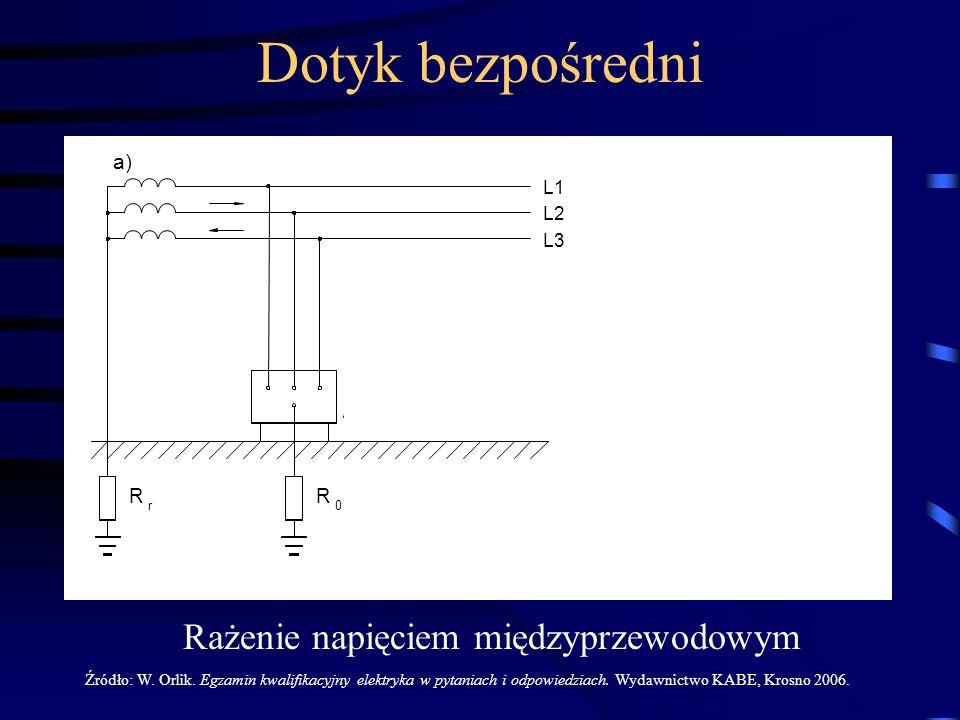 L1 L2 L3 Z f 0 I r R r0 R a) Rażenie napięciem międzyprzewodowym Źródło: W. Orlik. Egzamin kwalifikacyjny elektryka w pytaniach i odpowiedziach. Wydaw