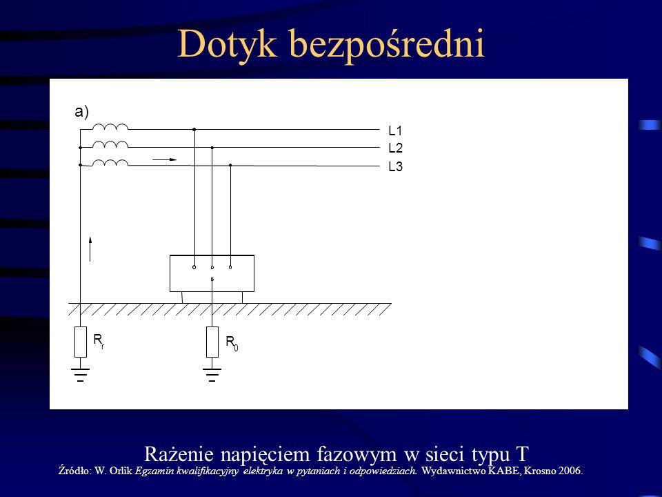 L1 L2 L3 Z R f c f 0 I r 0 U 0.5R R r p R r R 0 a) Rażenie napięciem fazowym w sieci typu T Źródło: W. Orlik Egzamin kwalifikacyjny elektryka w pytani