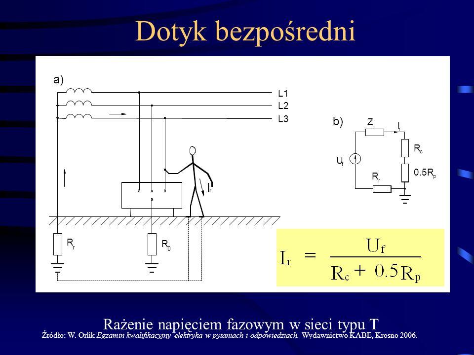 L1 L2 L3 Z R f c f I r I r U 0.5R R r p R r R 0 a) b) Rażenie napięciem fazowym w sieci typu T Źródło: W. Orlik Egzamin kwalifikacyjny elektryka w pyt