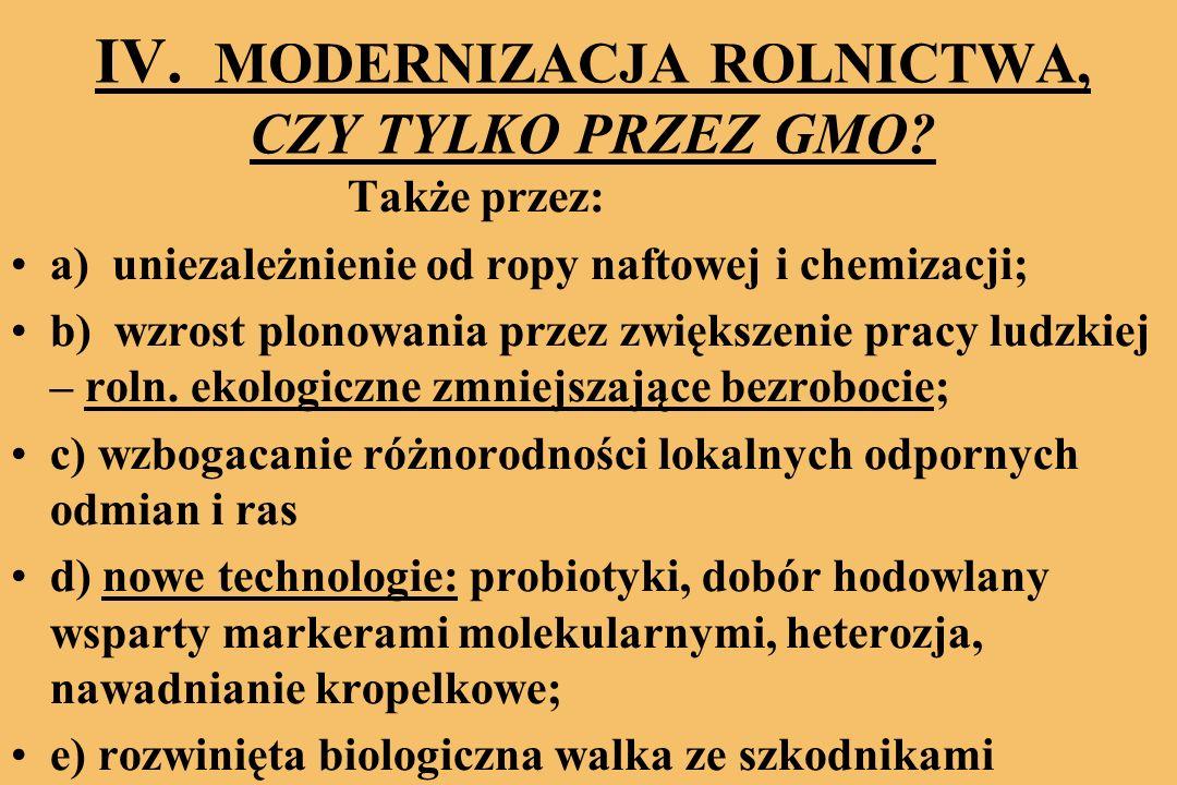 IV.MODERNIZACJA ROLNICTWA, CZY TYLKO PRZEZ GMO.