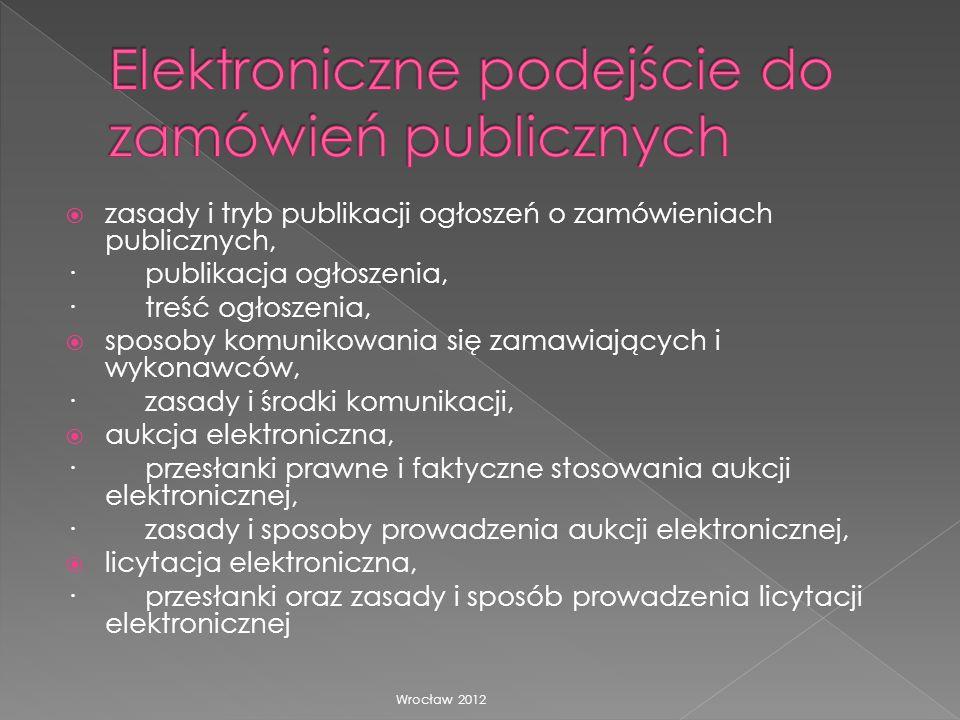 zasady i tryb publikacji ogłoszeń o zamówieniach publicznych, · publikacja ogłoszenia, · treść ogłoszenia, sposoby komunikowania się zamawiających i w