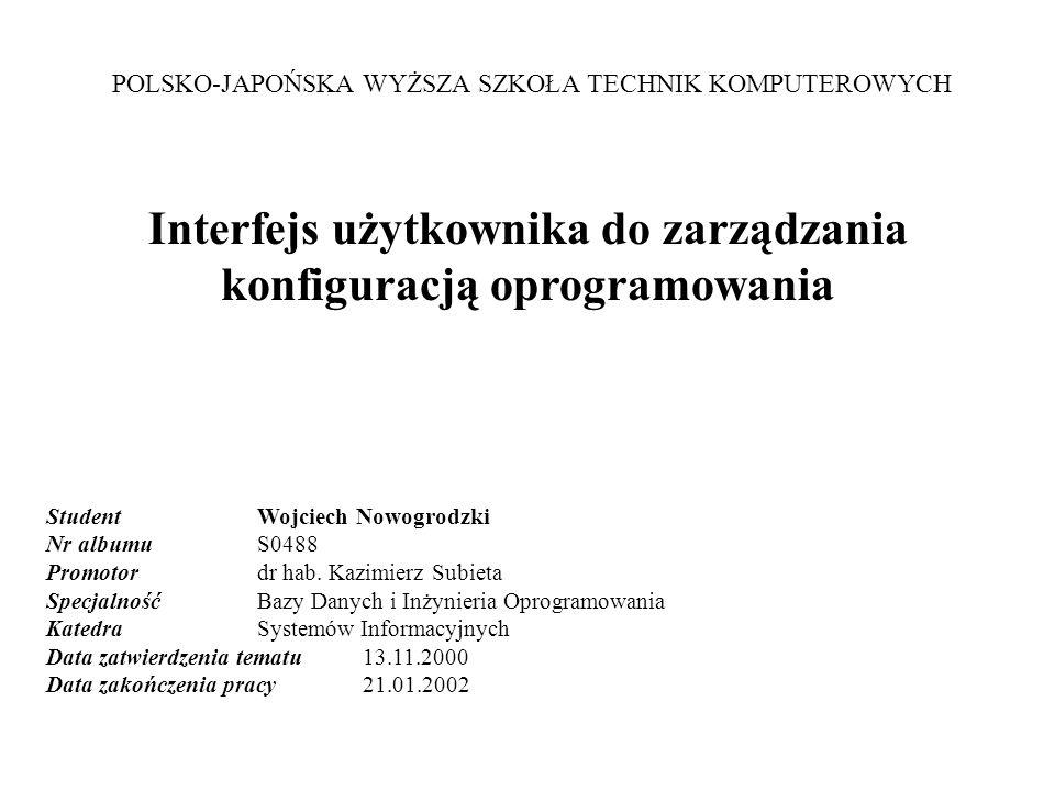 Slajd nr 2Zarządzanie Konfiguracją Oprogramowania - praca magisterska, autor: Wojciech Nowogrodzki, obrona: 22.