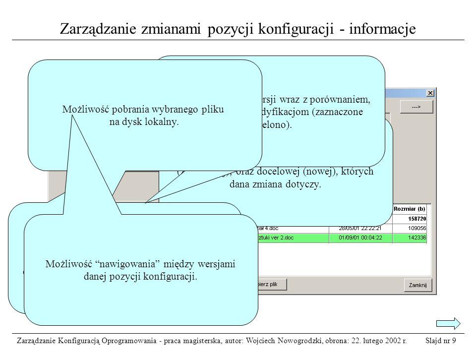 Slajd nr 10Zarządzanie Konfiguracją Oprogramowania - praca magisterska, autor: Wojciech Nowogrodzki, obrona: 22.