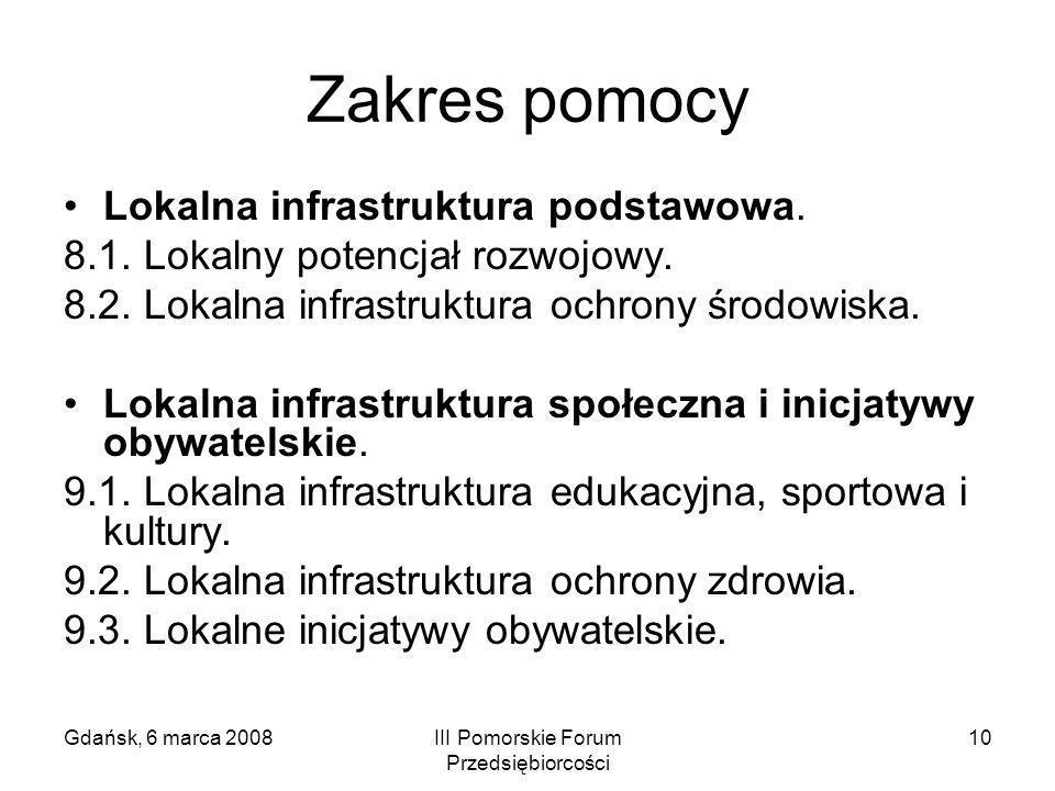 Gdańsk, 6 marca 2008III Pomorskie Forum Przedsiębiorcości 10 Zakres pomocy Lokalna infrastruktura podstawowa. 8.1. Lokalny potencjał rozwojowy. 8.2. L
