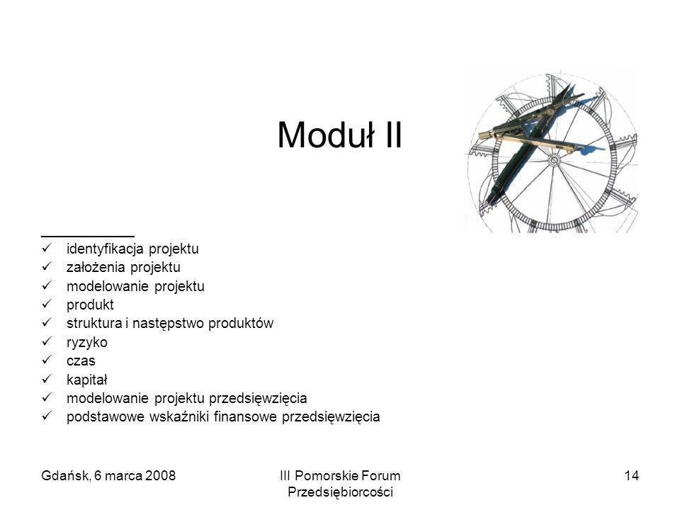 Gdańsk, 6 marca 2008III Pomorskie Forum Przedsiębiorcości 14 Moduł II ____________ identyfikacja projektu założenia projektu modelowanie projektu prod