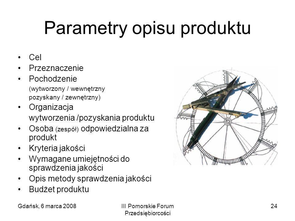 Gdańsk, 6 marca 2008III Pomorskie Forum Przedsiębiorcości 24 Parametry opisu produktu Cel Przeznaczenie Pochodzenie (wytworzony / wewnętrzny pozyskany