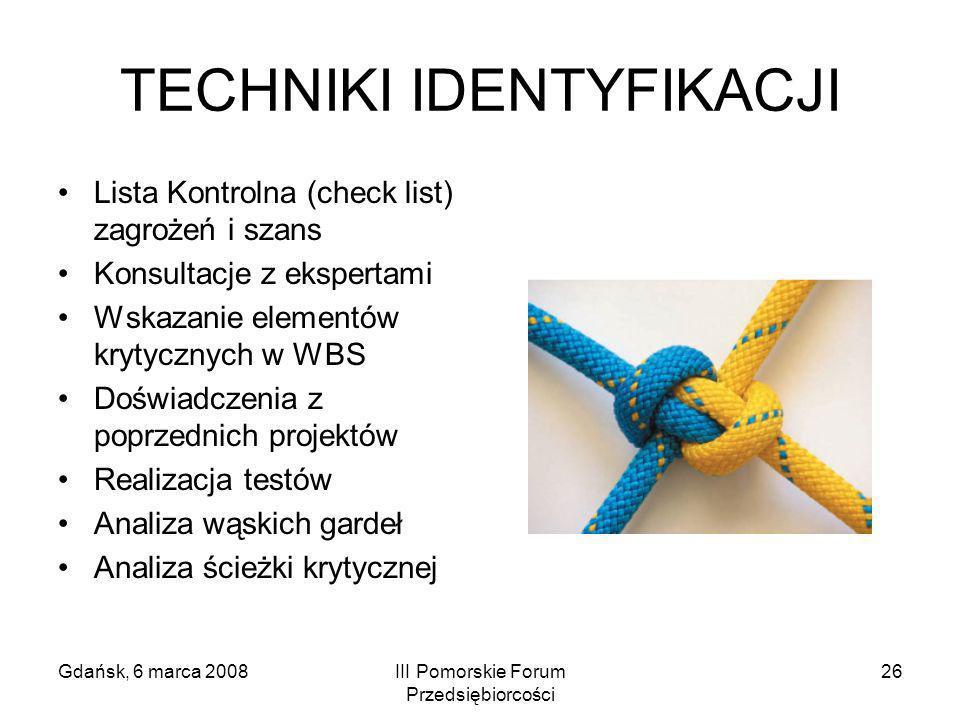 Gdańsk, 6 marca 2008III Pomorskie Forum Przedsiębiorcości 26 TECHNIKI IDENTYFIKACJI Lista Kontrolna (check list) zagrożeń i szans Konsultacje z eksper