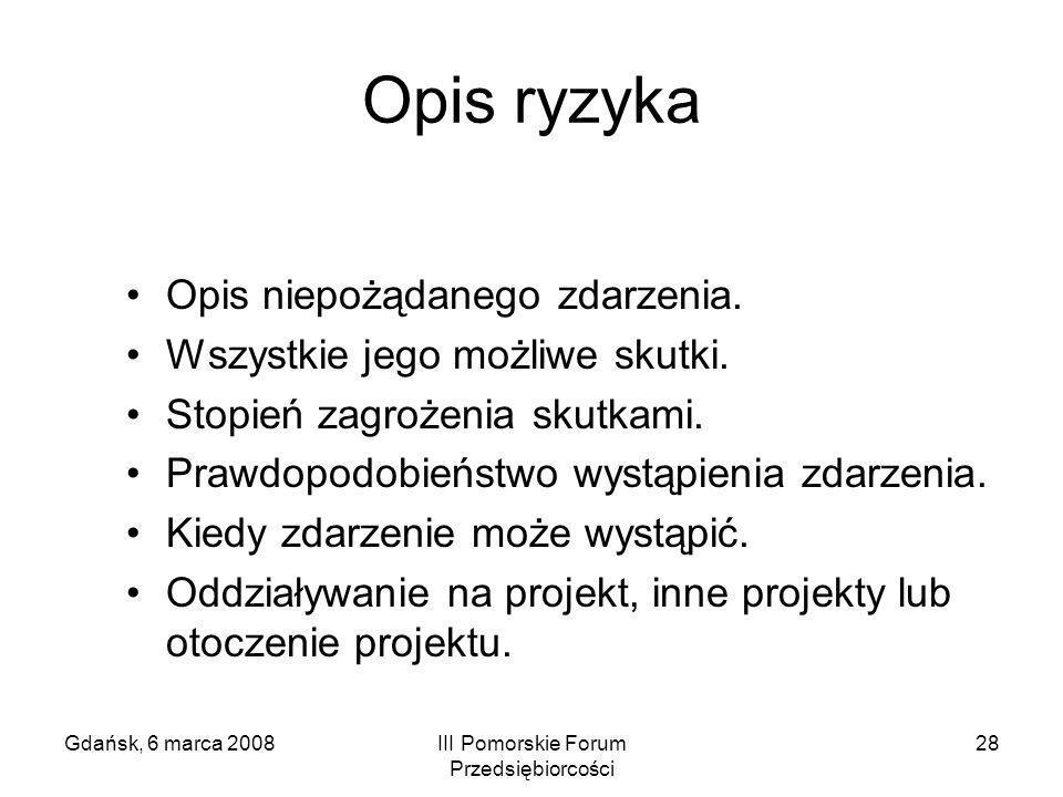 Gdańsk, 6 marca 2008III Pomorskie Forum Przedsiębiorcości 28 Opis ryzyka Opis niepożądanego zdarzenia. Wszystkie jego możliwe skutki. Stopień zagrożen