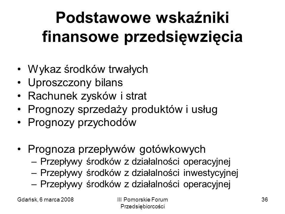 Gdańsk, 6 marca 2008III Pomorskie Forum Przedsiębiorcości 36 Podstawowe wskaźniki finansowe przedsięwzięcia Wykaz środków trwałych Uproszczony bilans