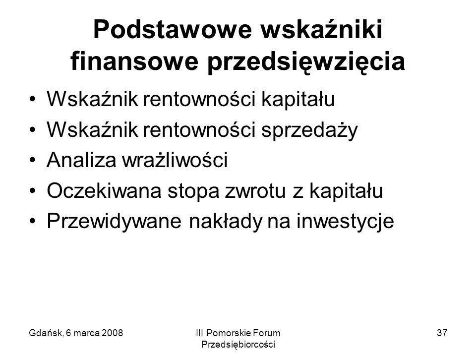 Gdańsk, 6 marca 2008III Pomorskie Forum Przedsiębiorcości 37 Podstawowe wskaźniki finansowe przedsięwzięcia Wskaźnik rentowności kapitału Wskaźnik ren