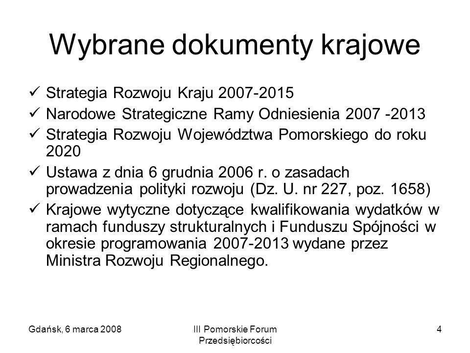 Gdańsk, 6 marca 2008III Pomorskie Forum Przedsiębiorcości 4 Wybrane dokumenty krajowe Strategia Rozwoju Kraju 2007-2015 Narodowe Strategiczne Ramy Odn