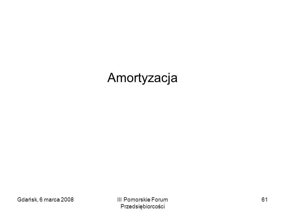 Gdańsk, 6 marca 2008III Pomorskie Forum Przedsiębiorcości 61 Amortyzacja