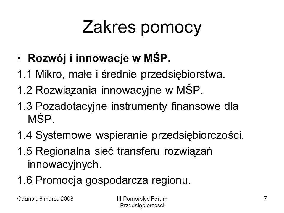 Gdańsk, 6 marca 2008III Pomorskie Forum Przedsiębiorcości 7 Zakres pomocy Rozwój i innowacje w MŚP. 1.1 Mikro, małe i średnie przedsiębiorstwa. 1.2 Ro