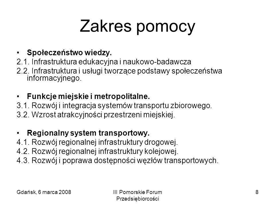 Gdańsk, 6 marca 2008III Pomorskie Forum Przedsiębiorcości 8 Zakres pomocy Społeczeństwo wiedzy. 2.1. Infrastruktura edukacyjna i naukowo-badawcza 2.2.