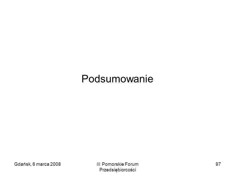 Gdańsk, 6 marca 2008III Pomorskie Forum Przedsiębiorcości 97 Podsumowanie