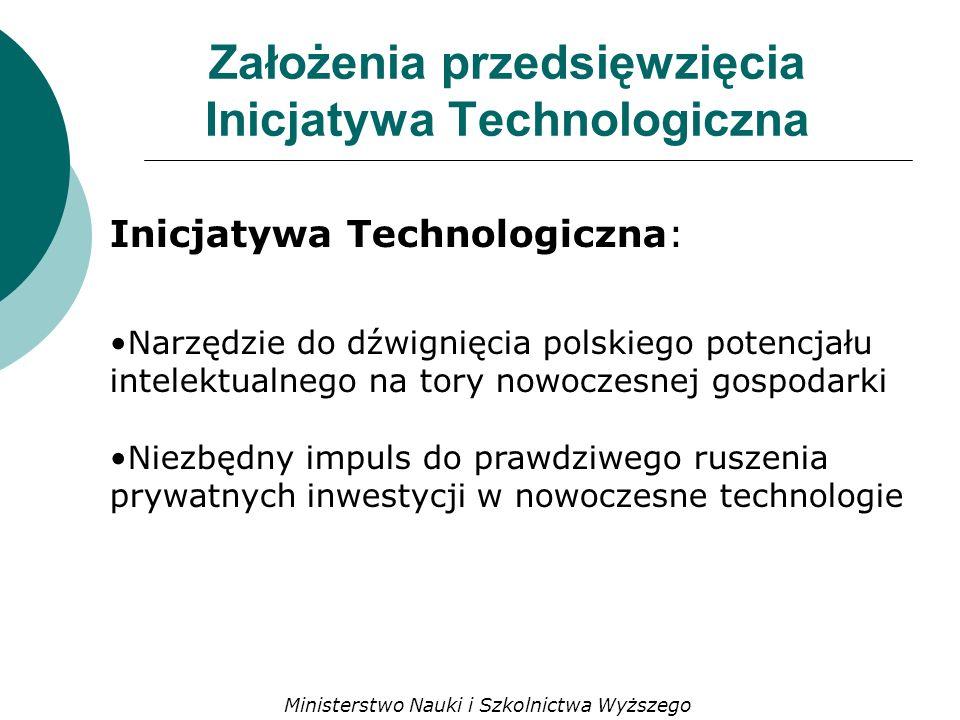 Założenia przedsięwzięcia Inicjatywa Technologiczna Inicjatywa Technologiczna: Narzędzie do dźwignięcia polskiego potencjału intelektualnego na tory nowoczesnej gospodarki Niezbędny impuls do prawdziwego ruszenia prywatnych inwestycji w nowoczesne technologie Ministerstwo Nauki i Szkolnictwa Wyższego