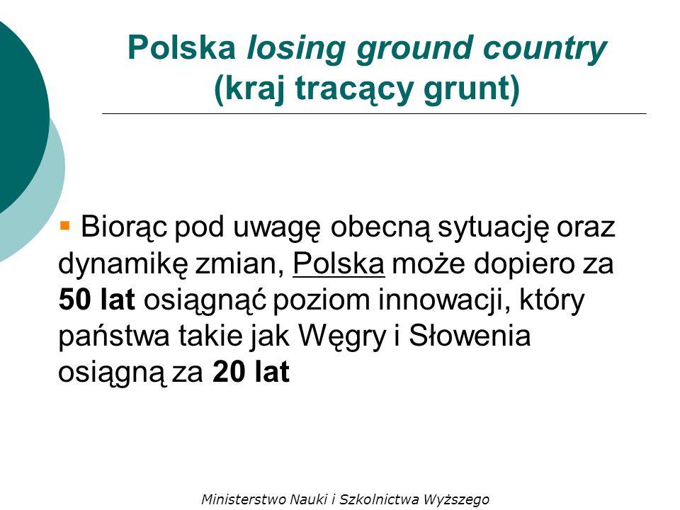 Polska losing ground country (kraj tracący grunt) Biorąc pod uwagę obecną sytuację oraz dynamikę zmian, Polska może dopiero za 50 lat osiągnąć poziom innowacji, który państwa takie jak Węgry i Słowenia osiągną za 20 lat Ministerstwo Nauki i Szkolnictwa Wyższego